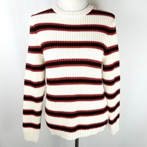 ASOS Chunky Knit Cream Striped Crewneck Sweater